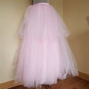 Vintage Petticoat Fluffy Tulle Maxi Skirt Pink